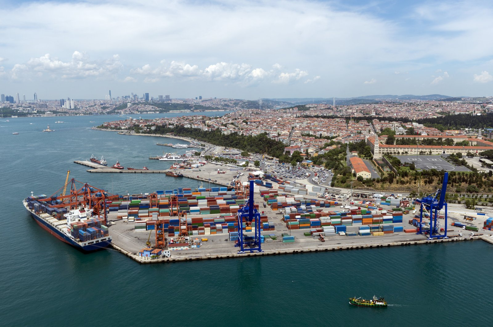 Aerial view of the container port and ship in Haydarpaşa Istanbul, Turkey. (Getty Images)