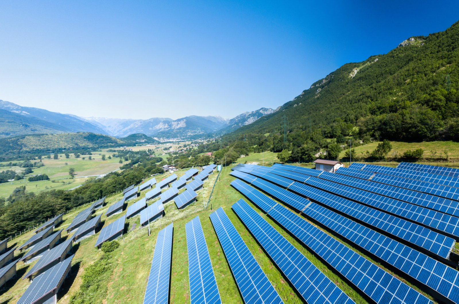 Aerial view of a solar power station in Italy installed in the Alpine mountains. (iStock Photo)
