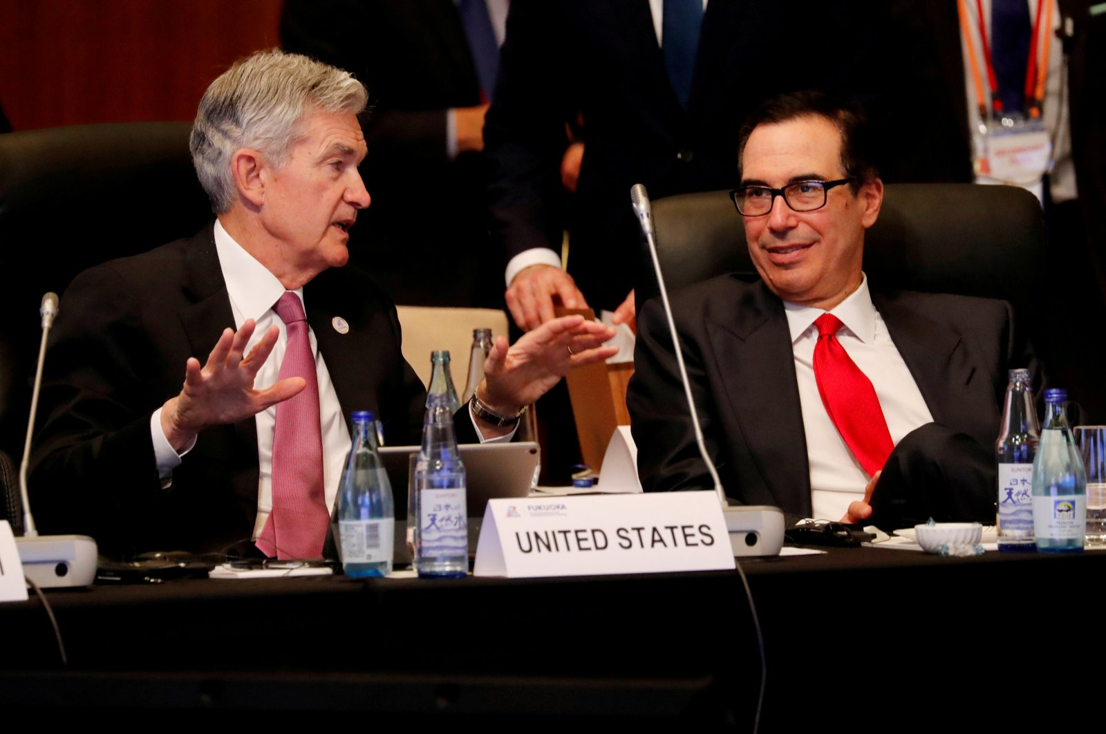 Federal Reserve Chairman Jerome Powell talks with U.S. Treasury Secretary Steven Mnuchin during the G-20 finance ministers and central bank governors meeting in Fukuoka, Japan June 8, 2019. (REUTERS Photo)