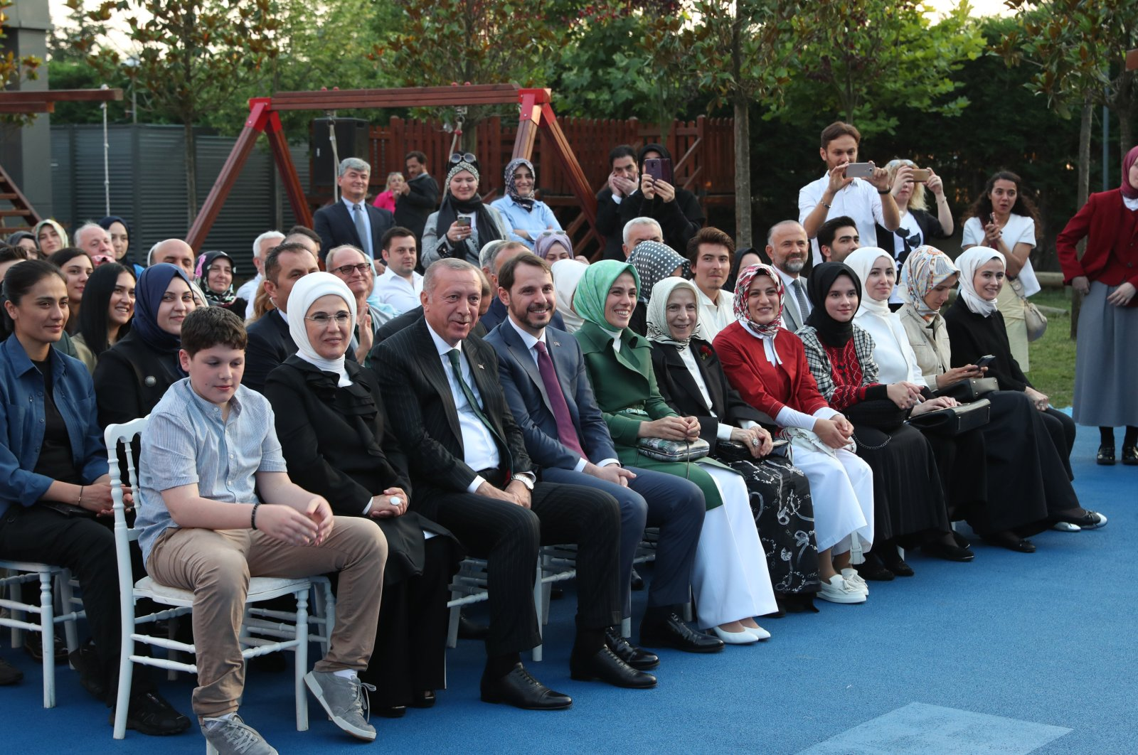 President Recep Tayyip Erdoğan sits next to his wife Emine Erdoğan, his daughter Esra Albayrak, his son-in-law Berat Albayrak and his grandson Ahmet Akif during an event in Istanbul, Turkey, June 22, 2019. (AA Photo)