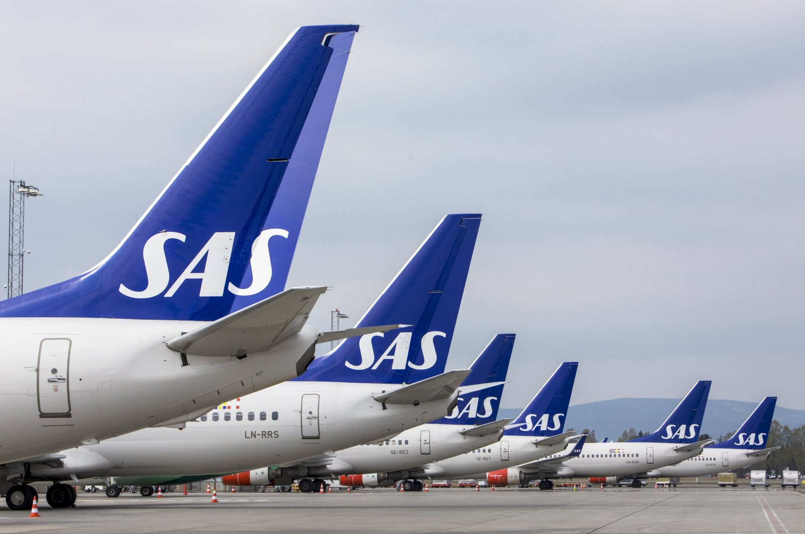 SAS planes are grounded at Oslo Gardermoen airport during pilots strikes, in Oslo, April 26, 2019 file photo. (NTB Scanpix via AP)