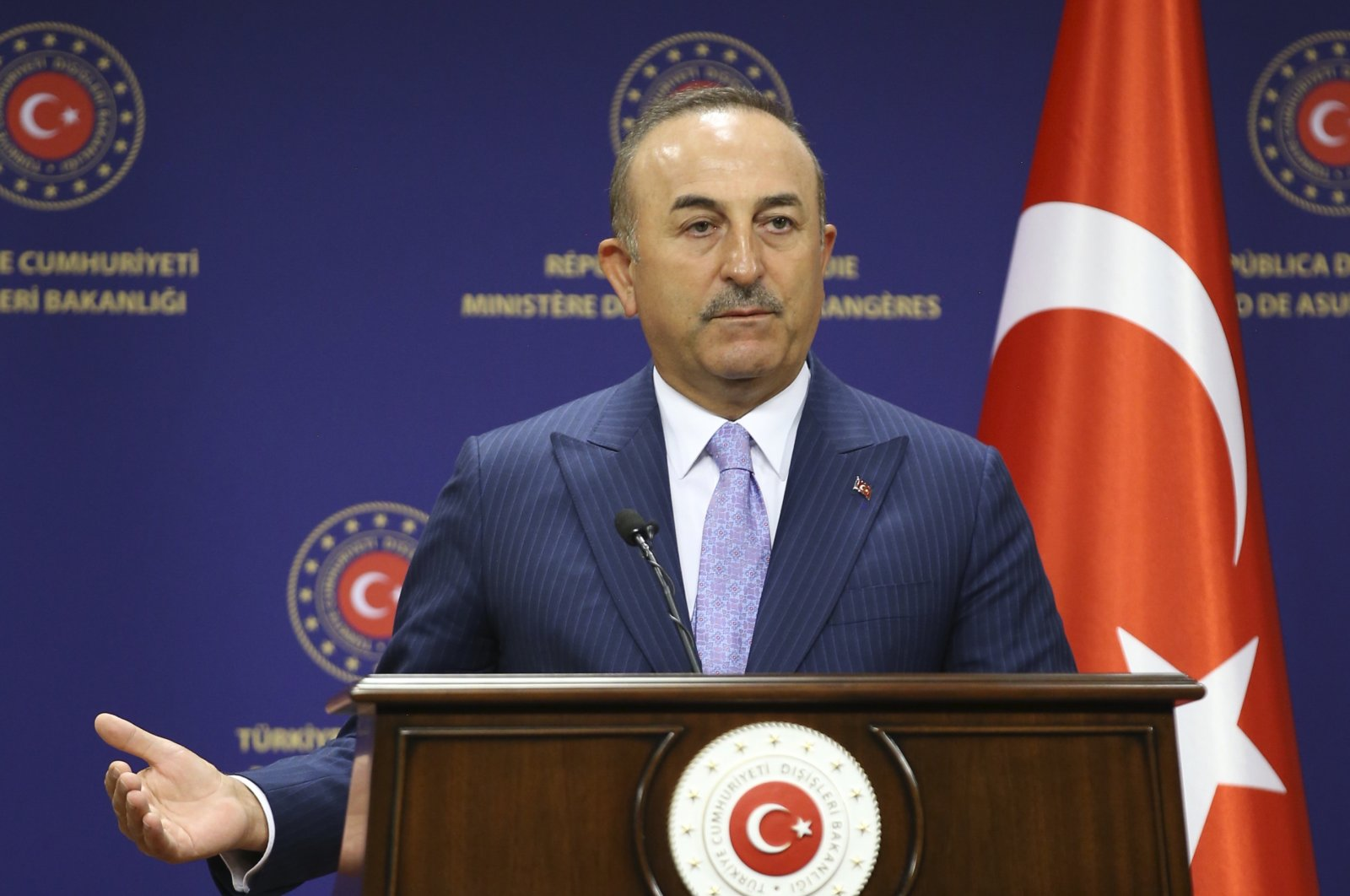 Foreign Minister Mevlüt Çavuşoğlu speaks at a joint news conference with Hungary's Foreign Minister Peter Szijjart after their talks, in Ankara, Turkey, Tuesday, June 30, 2020. (AP Photo)