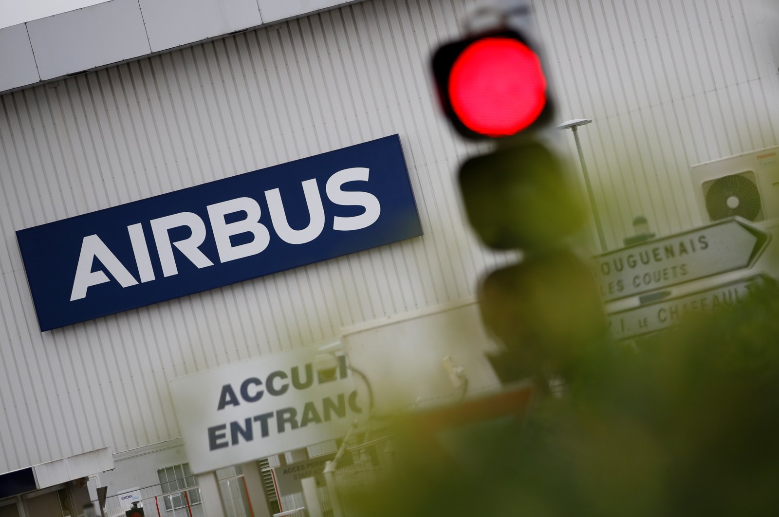 The logo of Airbus is pictured at the entrance of the Airbus facility in Bouguenais, near Nantes, France, June 30, 2020. (Reuters Photo)