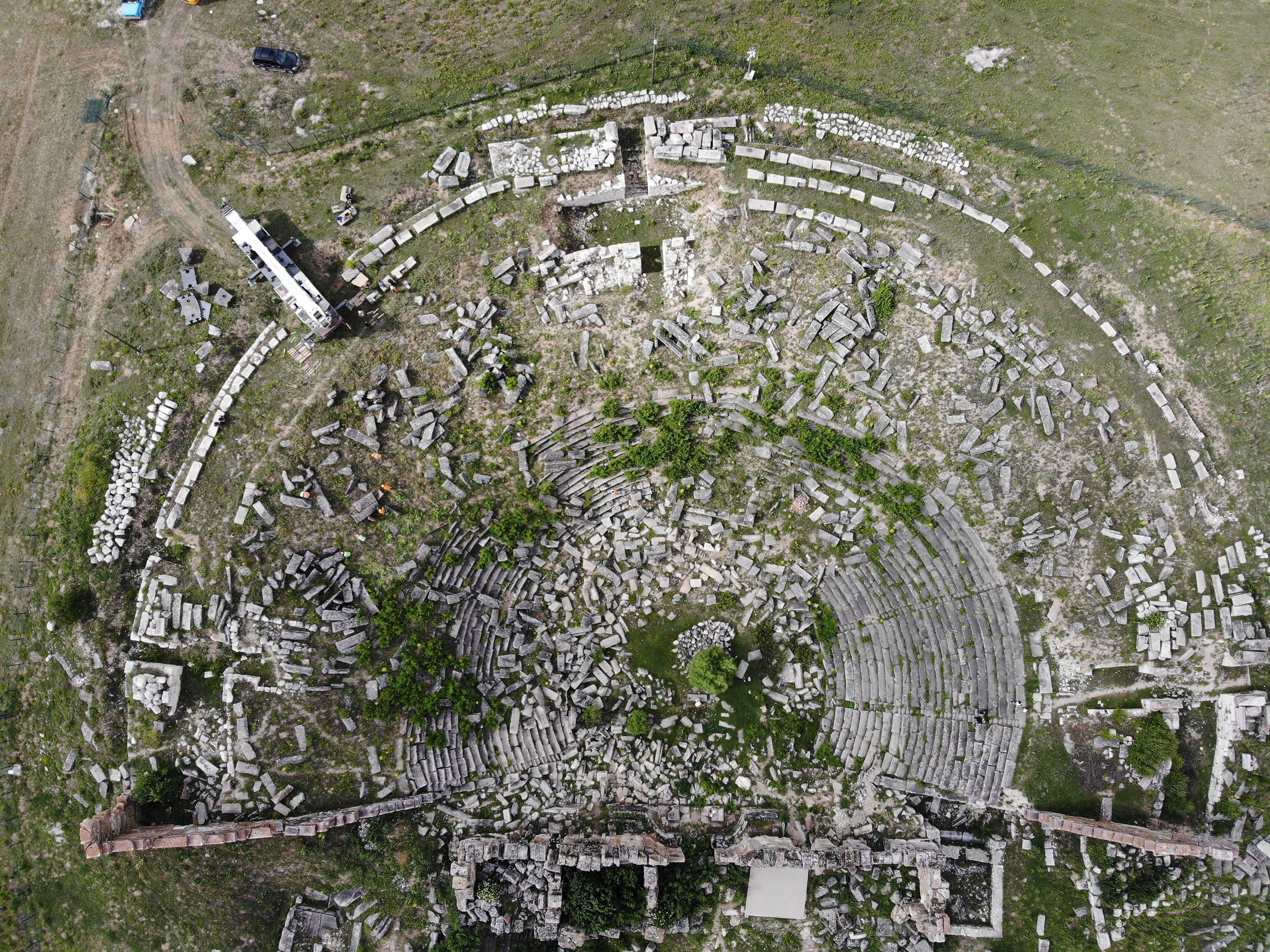 Though damaged by natural disasters such as earthquakes and landslides, the ancient theater and stadium remain mostly intact. (AA Photo)