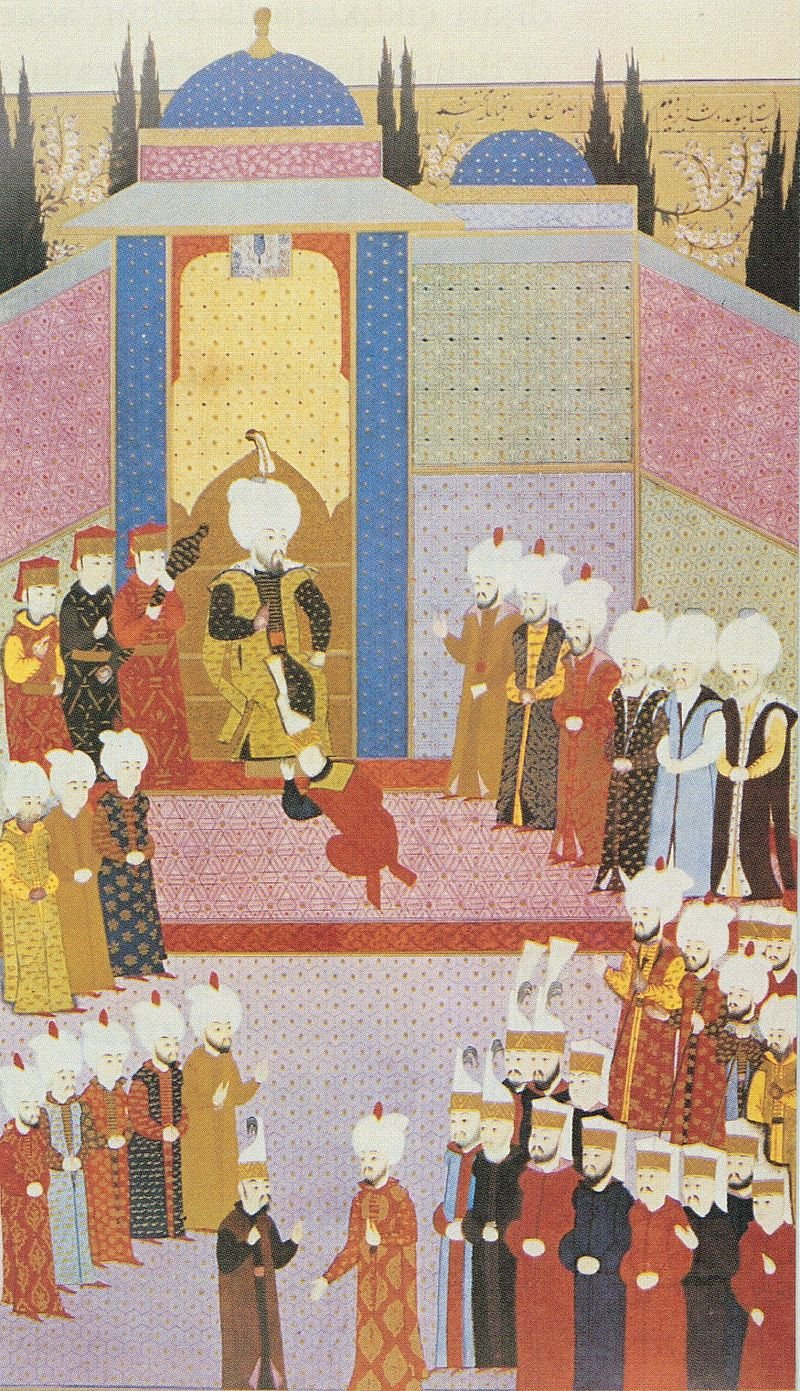 A miniature depicting Bayezid II's cülus ceremony, the rite of accession to the throne.