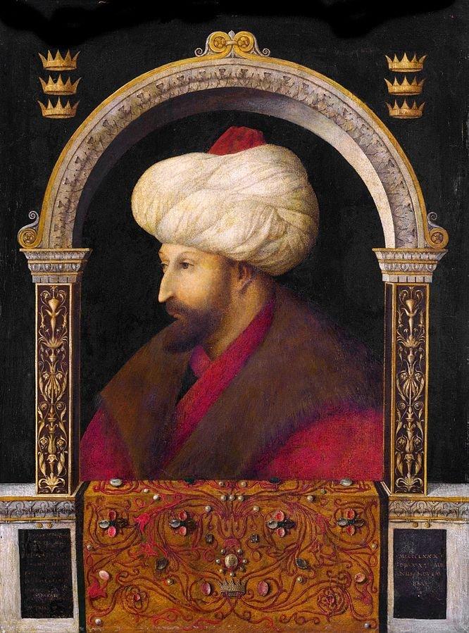 A portrait of Sultan Mehmed II by Gentile Bellinii.