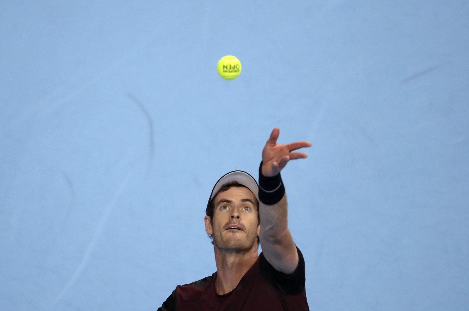 Andy Murray of Britain serves during the European Open final tennis match in Antwerp, Belgium, Oct. 20, 2019. (AP Photo)