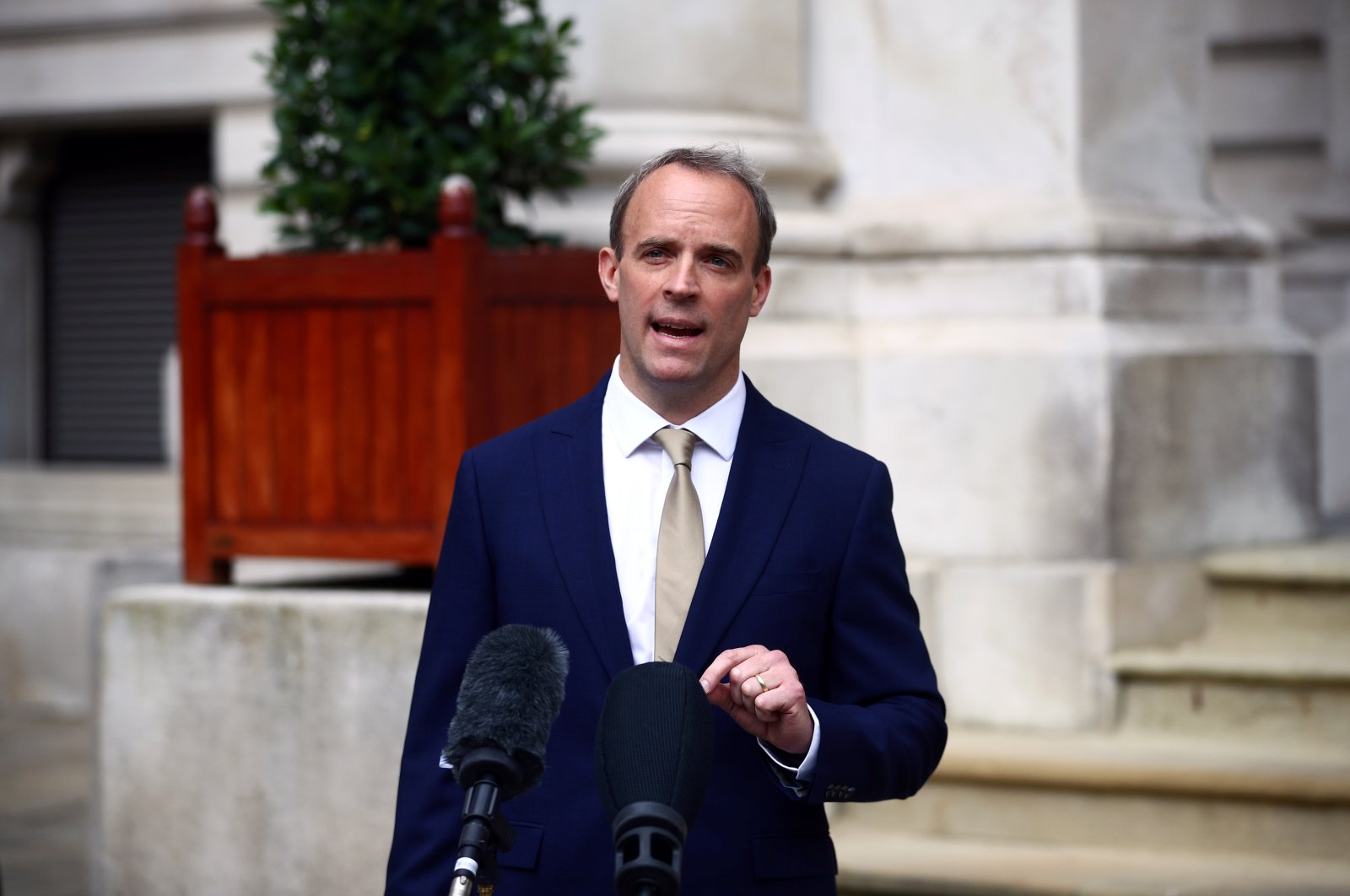 Britain's Foreign Secretary Dominic Raab makes a statement on Hong Kong's national security legislation in London, Britain, July 1, 2020. (Reuters Photo)