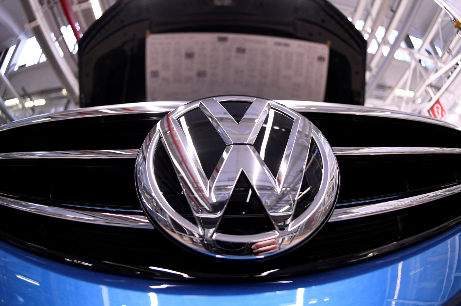 A Volkswagen logo is pictured in a production line at the Volkswagen plant in Wolfsburg, Germany, March 1, 2019. (Reuters Photo)