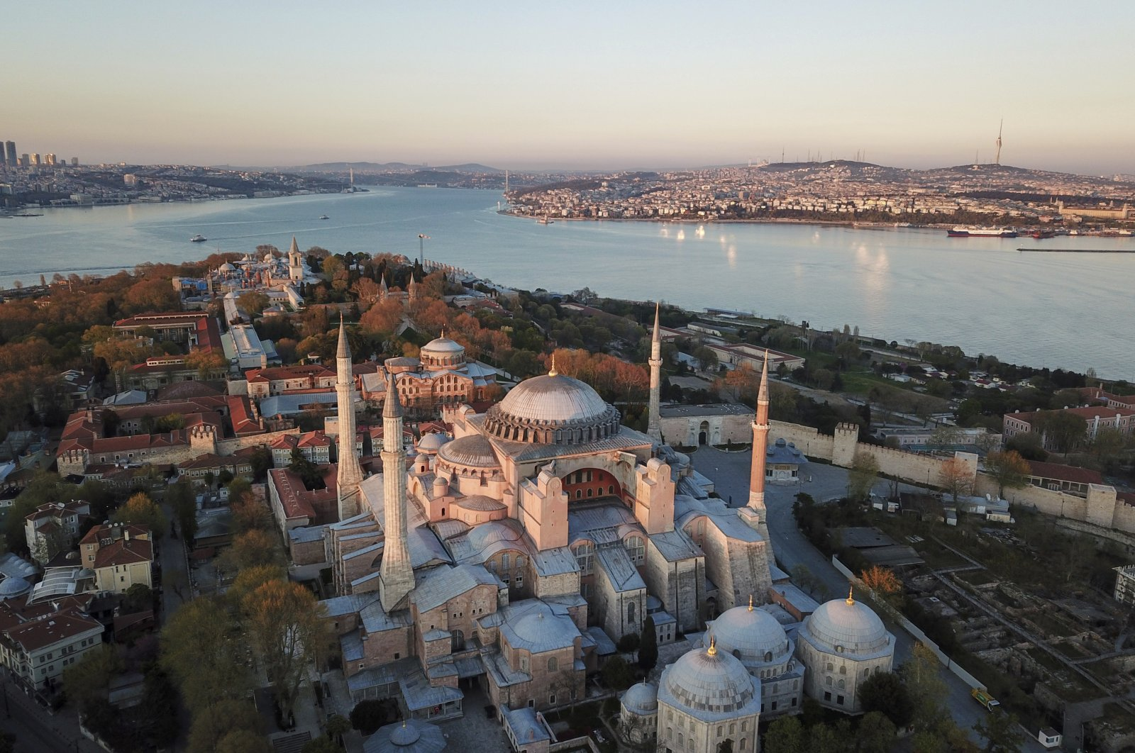 An aerial view of the Byzantine-era Hagia Sophia, one of Istanbul's main tourist attractions in the historic Sultanahmet district of Istanbul, April 25, 2020. (AP Photo)
