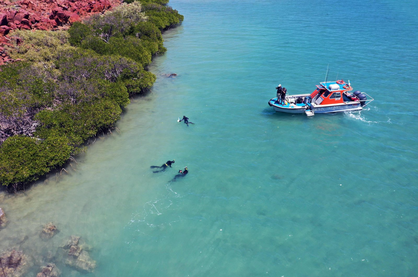 An archaeological research area in the Dampier Archipelago off the remote Western Australia coast, Sept. 9, 2019. (AFP Photo)