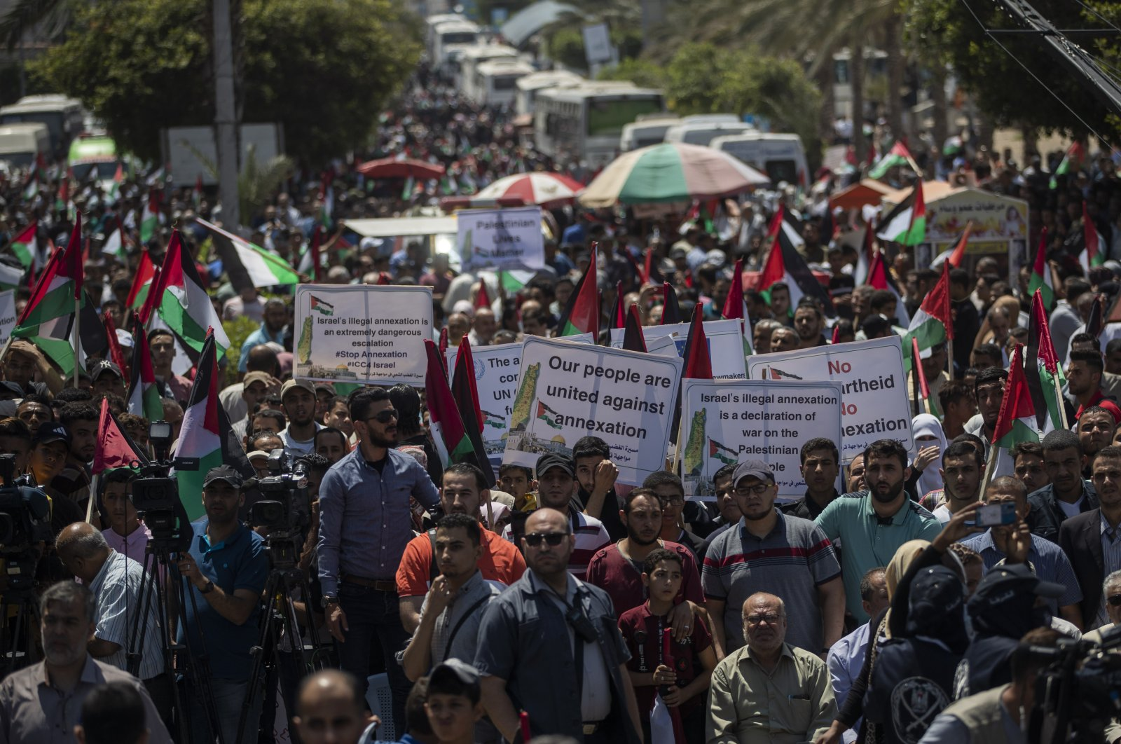 Palestinians demonstrate against Israeli plans for the annexation of parts of the occupied West Bank, Gaza City, July 1, 2020. (AP Photo)