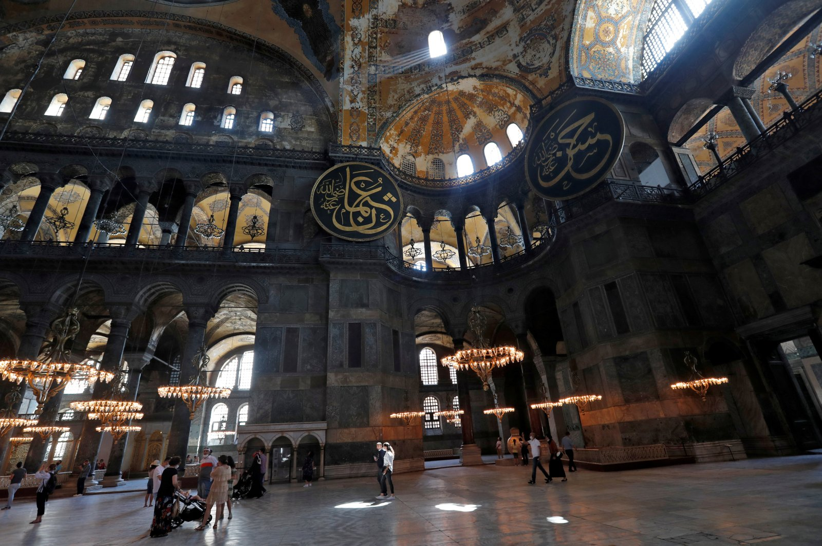 People visit Hagia Sophia or Ayasofya, a UNESCO World Heritage Site, which was a Byzantine cathedral before being converted into a mosque and is now a museum, in Istanbul, Turkey, June 30, 2020. (Reuters File Photo)