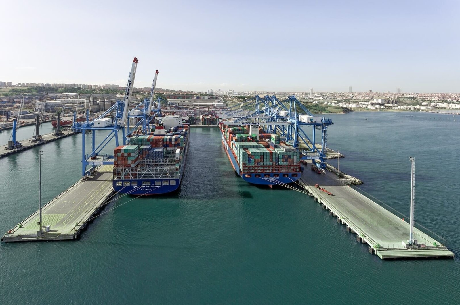 Container ships at Kumport, one of Turkey's largest ports, Istanbul. (Courtesy of Kumport)