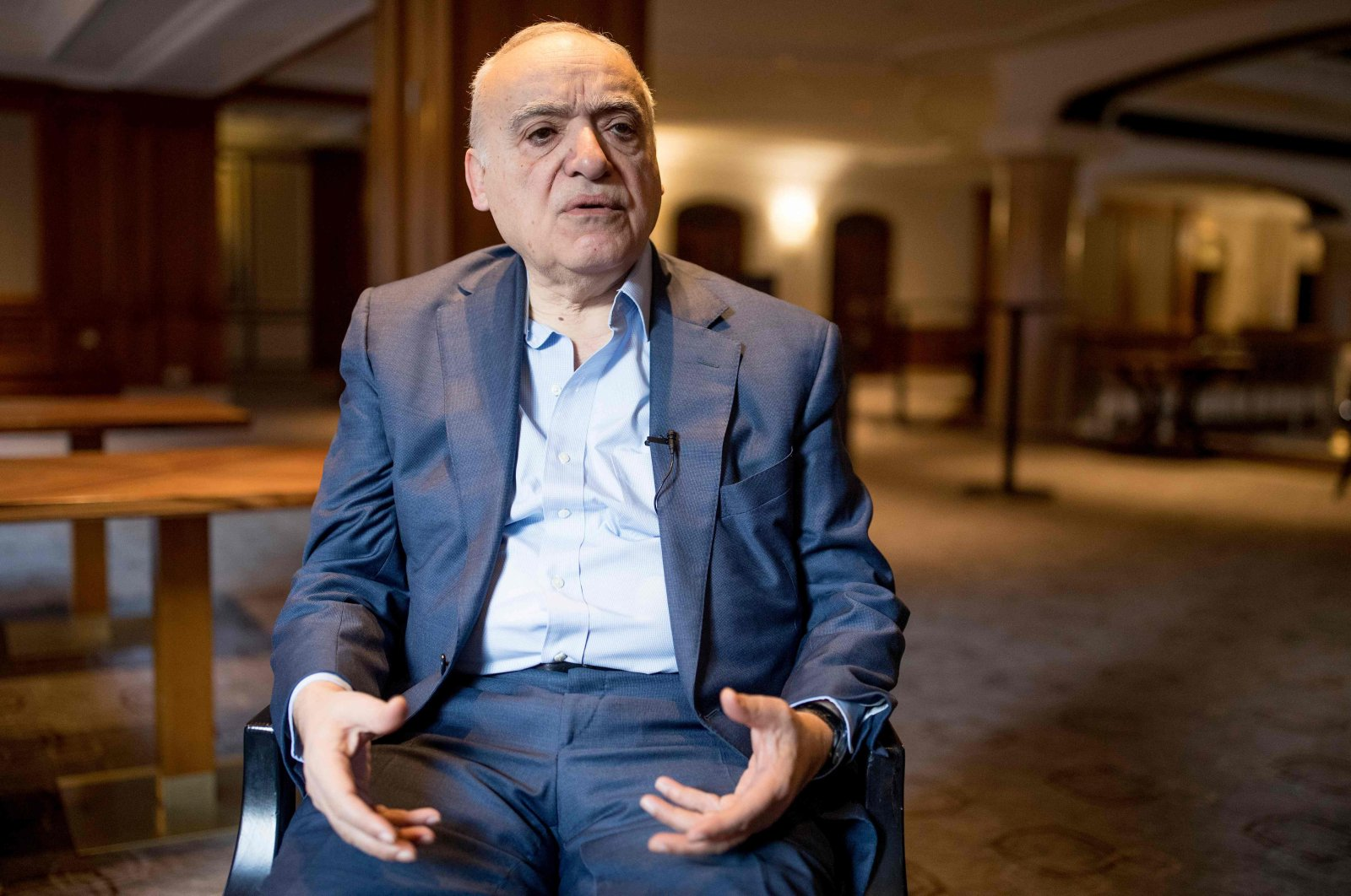 Ghassan Salame, the United Nations' former Libya envoy, speaks during an interview in Berlin, January 18, 2020. (AFP Photo)
