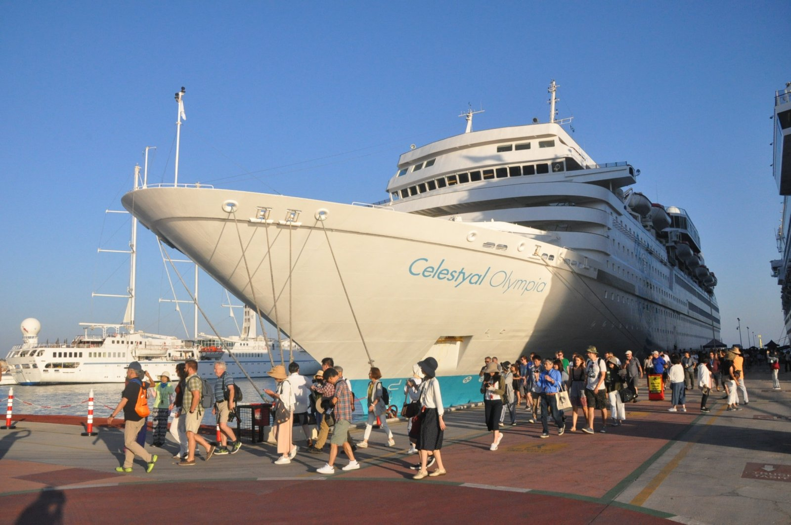 "A cruise ship named ""Celestyal Olympia"" seen anchored at Kuşadası in western Turkey, Aug. 13, 2019. (AA Photo)"