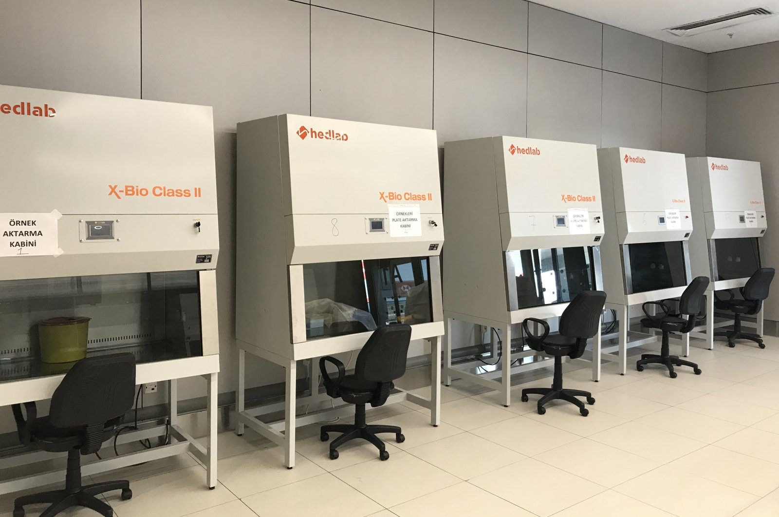 The cabins where samples are taken from passengers as part of coronavirus testing are seen at Istanbul Airport, Istanbul, Turkey, June 1, 2020. (AA Photo)