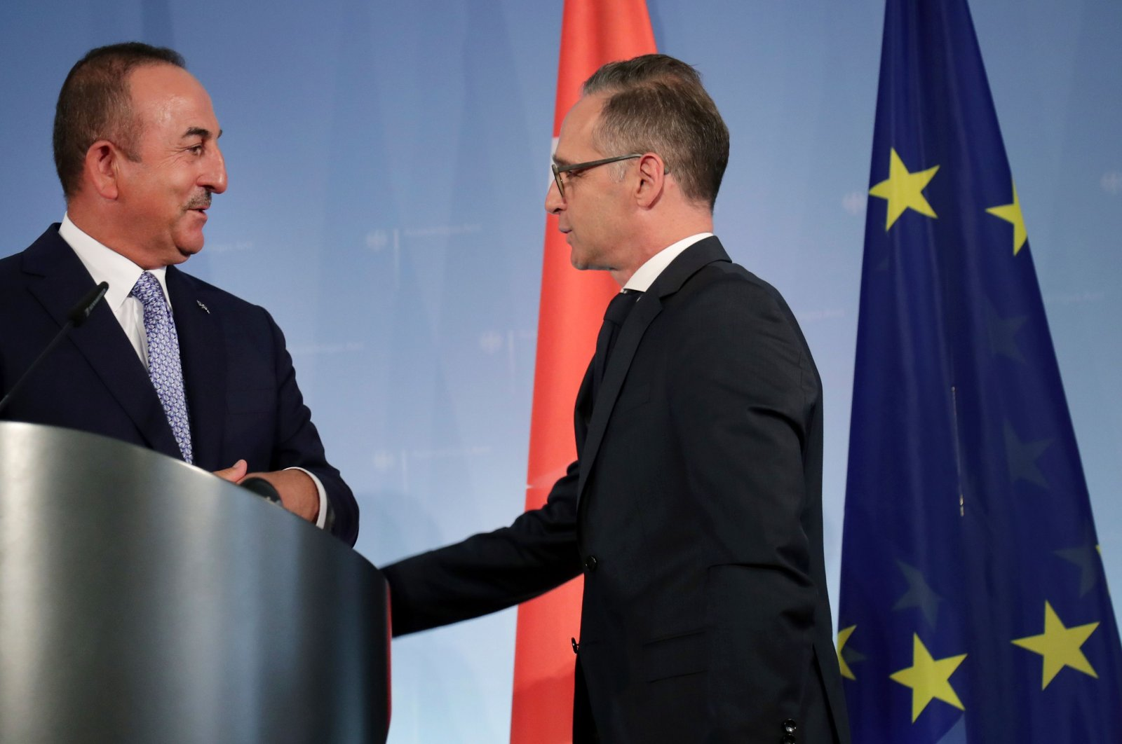 Foreign Minister Mevlüt Çavuşoğlu and his German counterpart Heiko Maas leave after a press conference in Berlin, July 2, 2020. (AFP Photo)