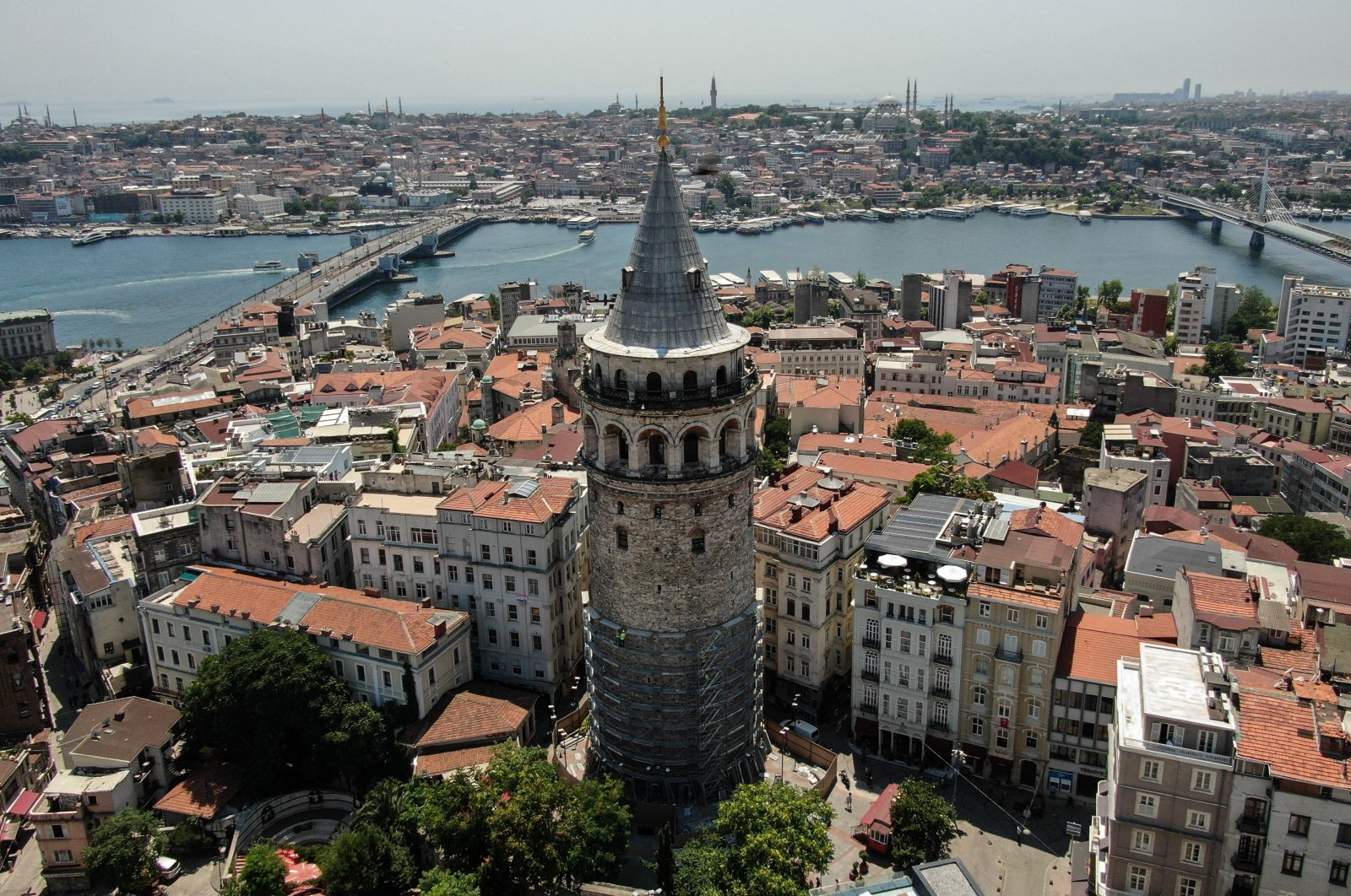 A view of Galata Tower in Istanbul, Turkey, July 1, 2020. (İHA Photo)