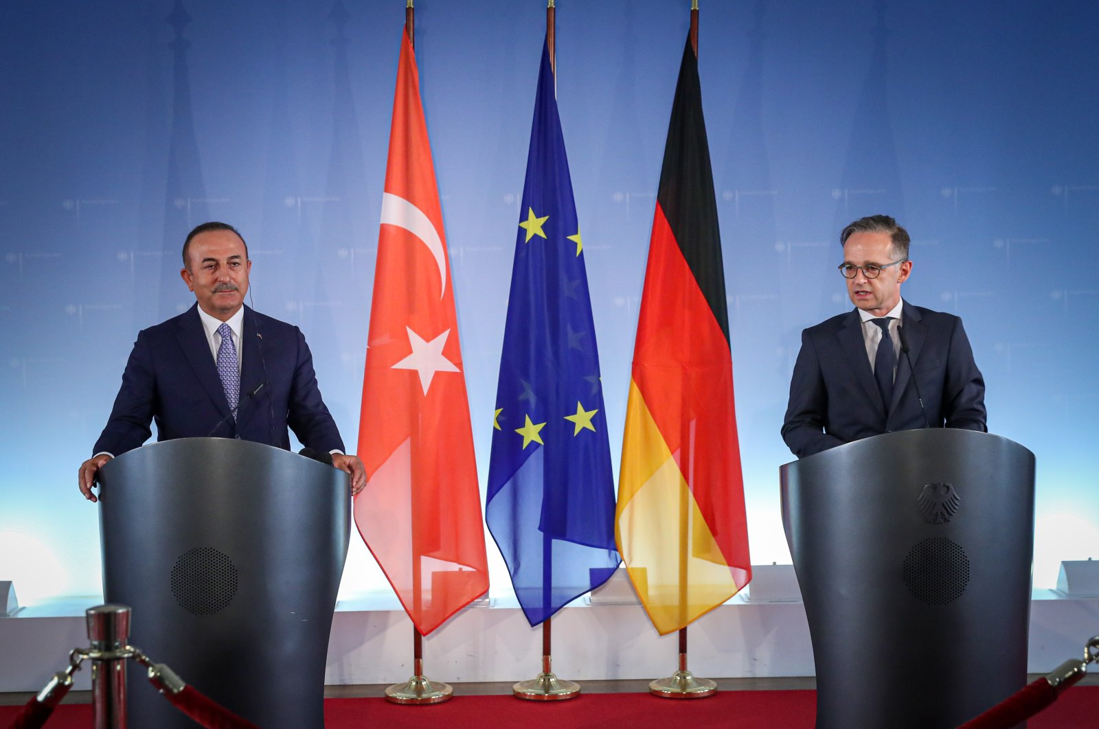 Foreign Minister Mevlüt Çavuşoğlu (L) and his German counterpart Heiko Maas during a joint press conference, Berlin, July 2, 2020. (AA Photo)