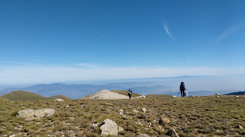 Backpackers hike on a rocky ridge of Mount Uludağ, overlooking Bursa province, Turkey. (Gabriela Akpaça / Daily Sabah)