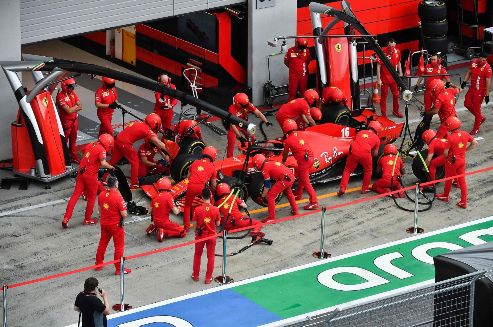 Ferrari driver Charles Leclerc's car seen in the pitlane ahead of the Austrian Grand Prix, Spielberg, Austria, July 2, 2020. (AFP Photo)