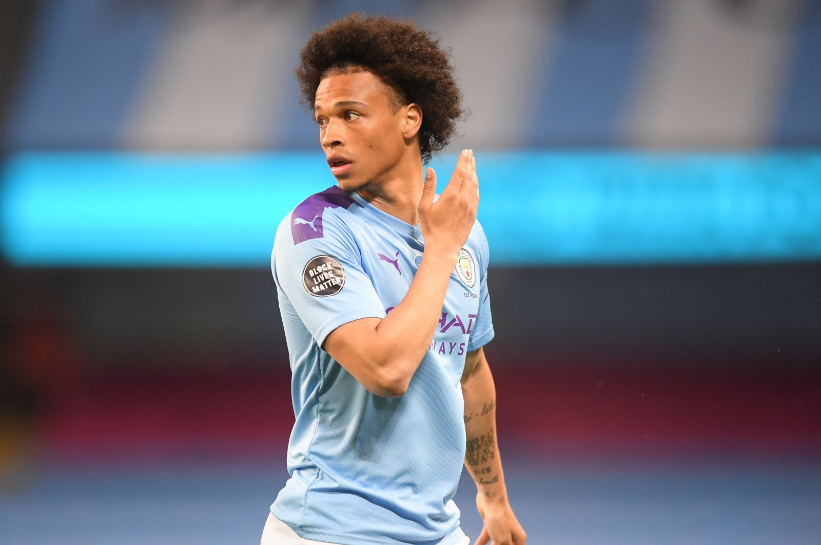 Leroy Sane of Manchester City comes on from the bench during the English Premier League football match between Manchester City and Burnley at the Etihad Stadium in Manchester, England, June 22, 2020. (EPA Photo)