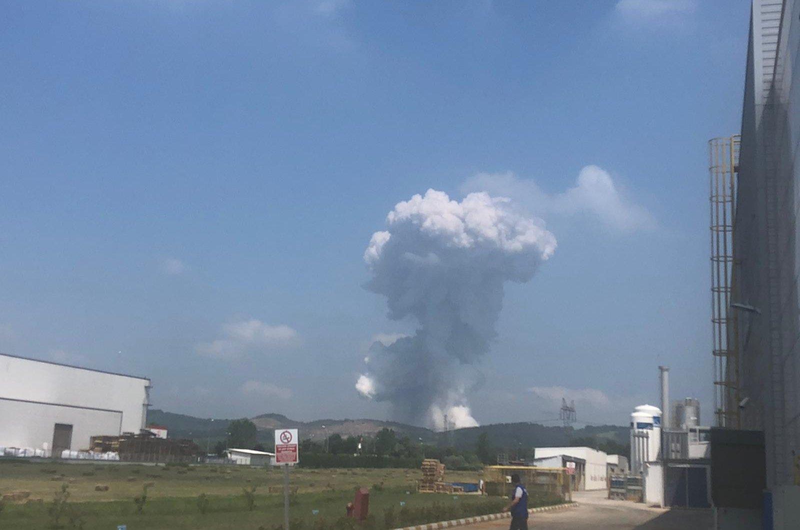 Smoke rises above the scene of an explosion at a fireworks factory in Sakarya, Turkey, June 3, 2020. (IHA Photo)