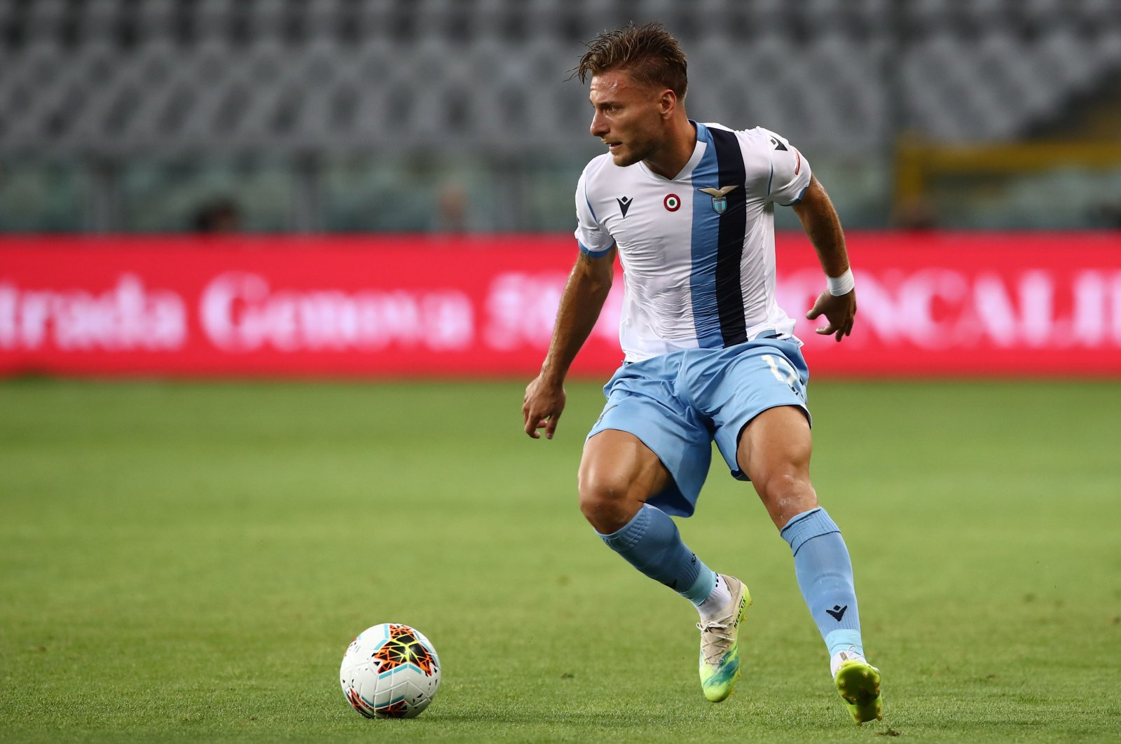 Lazio's Ciro Immobile controls the ball during a Serie A match in Turin, Italy, June 30, 2020. (AFP Photo)