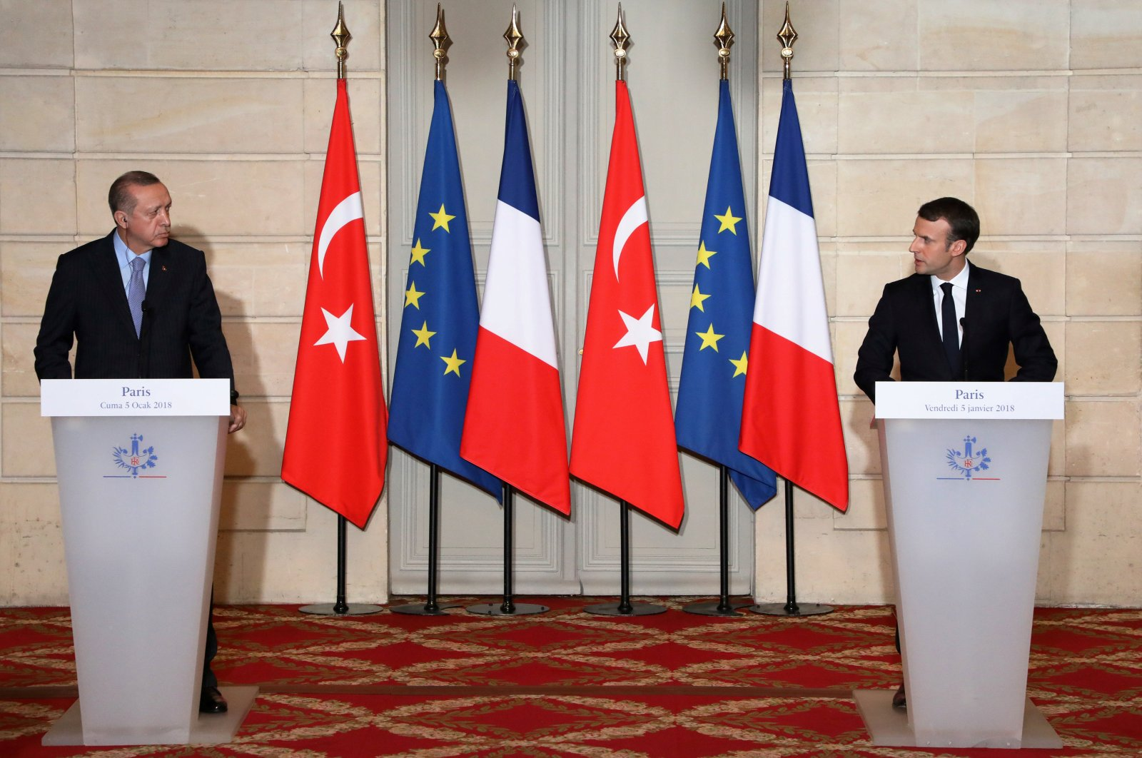 President Recep Tayyip Erdogan and French President Emmanuel Macron hold a joint press conference at the Elysee Palace in Paris, France, Jan. 5, 2018. (Reuters Photo)