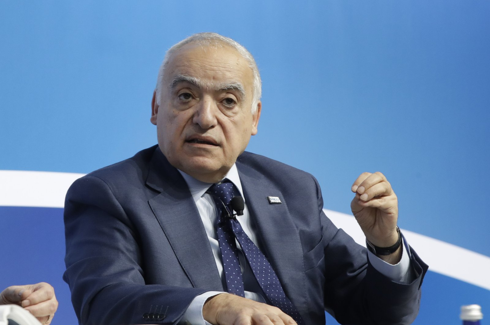 Then-U.N. special envoy to Libya Ghassan Salame speaks during the Mediterranean Dialogues conference in Rome, Italy, Dec. 7, 2019. (AP Photo)