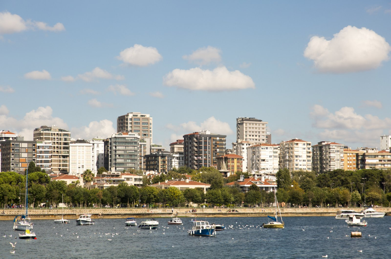 With clouds and blue sky in the background, apartment buildings speckle the coastline of Kadıköy, Istanbul, Oct. 9, 2019. (iStock Photo)