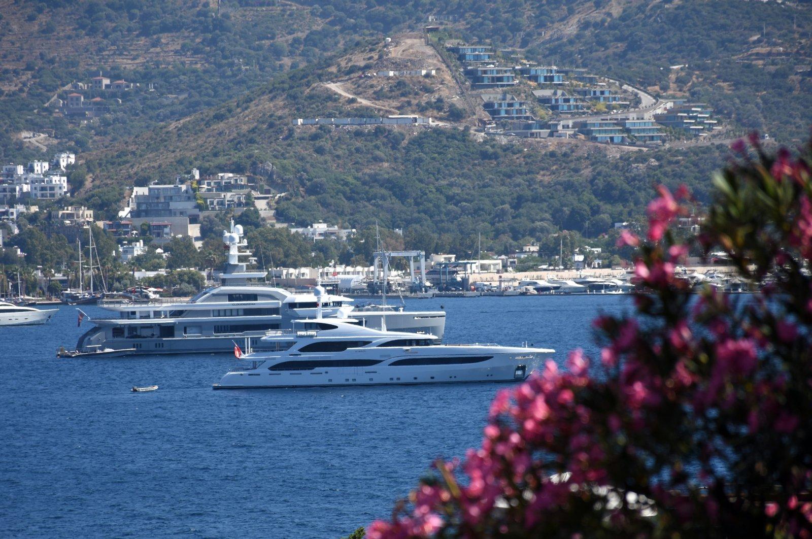 Yachts are seen in Turkey's touristic Muğla province, June 29, 2020. (AA Photo)