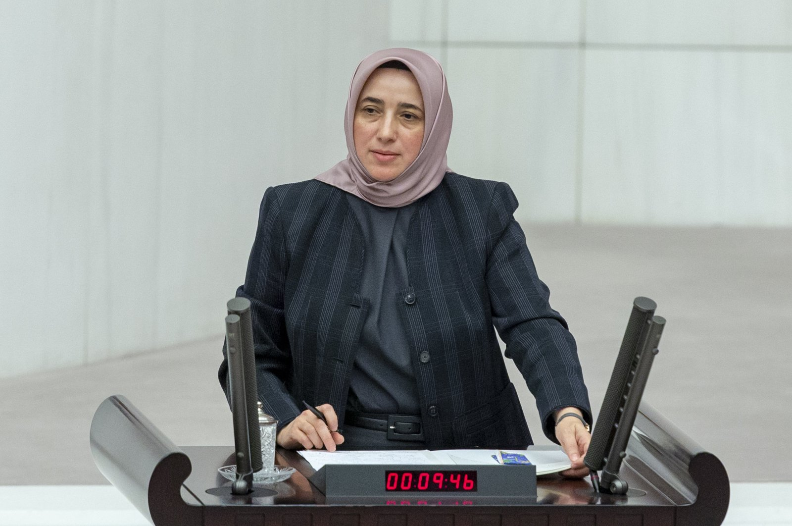 Justice and Development Party's (AK Party) group deputy chair, Özlem Zengin, makes a speech at the Turkish parliament, Oct. 21, 2019. (AA)