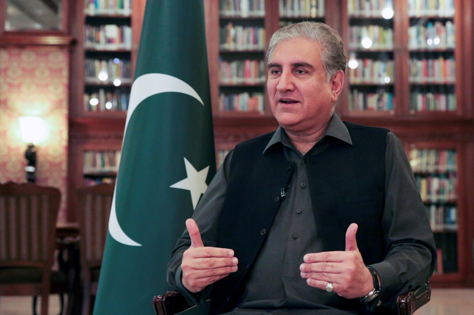 Pakistani Foreign Minister Shah Mehmood Qureshi gestures while speaking during an interview with Reuters at the Ministry of Foreign Affairs in Islamabad, Pakistan March 1, 2020. (Reuters Photo)