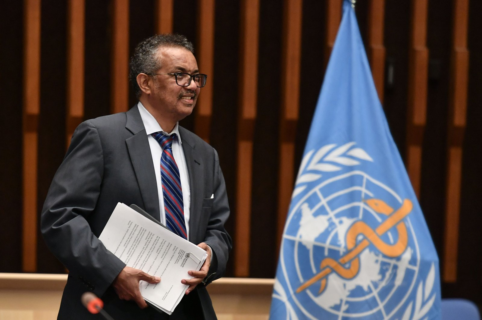 World Health Organization (WHO) Director-General Tedros Adhanom Ghebreyesus arrives a press conference organised by the Geneva Association of United Nations Correspondents (ACANU) amid the COVID-19 outbreak, caused by the novel coronavirus at WHO headquarters in Geneva on July 3, 2020. (AFP Photo)