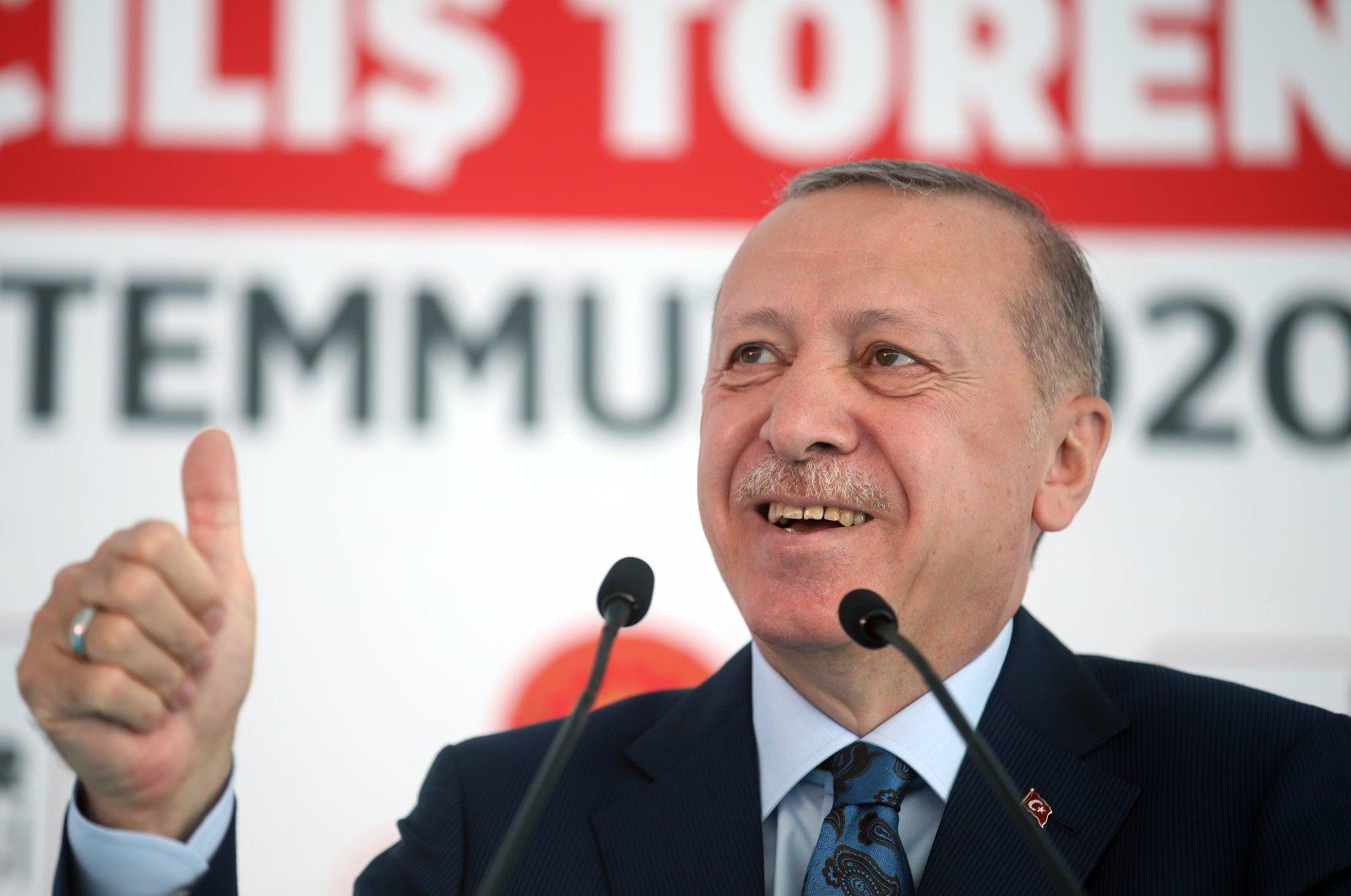 President Recep Tayyip Erdoğan speaks at the inauguration ceremony of Kartal City Hospital, Istanbul, July 4, 2020. (AA Photo)
