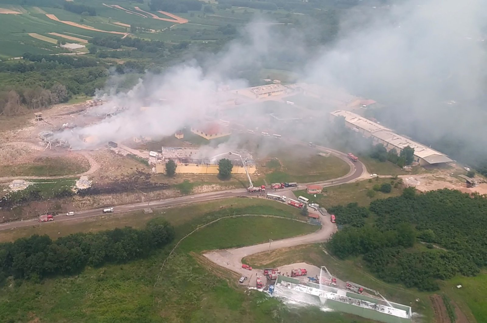 This screengrab taken from video shows an aerial view of the firework factory following a blast is seen from a helicopter, in Hendek, Sakarya province, July 3, 2020. (Interior Ministry via Reuters)