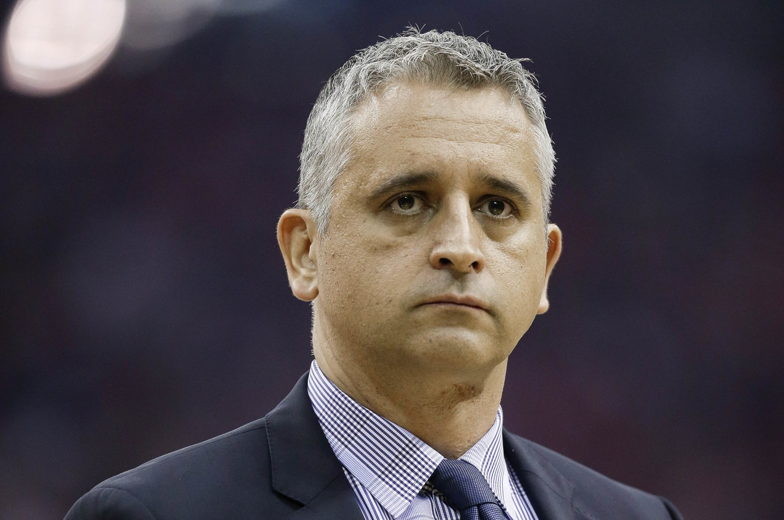 Utah Jazz assistant coach Igor Kokoskov stands during a timeout in the first half of game 2 in the team's NBA basketball second-round playoff series against the Houston Rockets, in Houston, May 2, 2018. (AP Photo)
