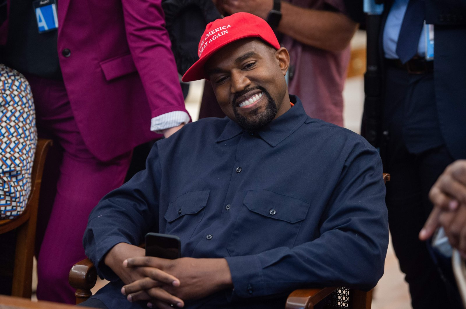 In this file photo rapper Kanye West speaks during his meeting with US President Donald Trump in the Oval Office of the White House in Washington, DC, on October 11, 2018. (AFP Photo)