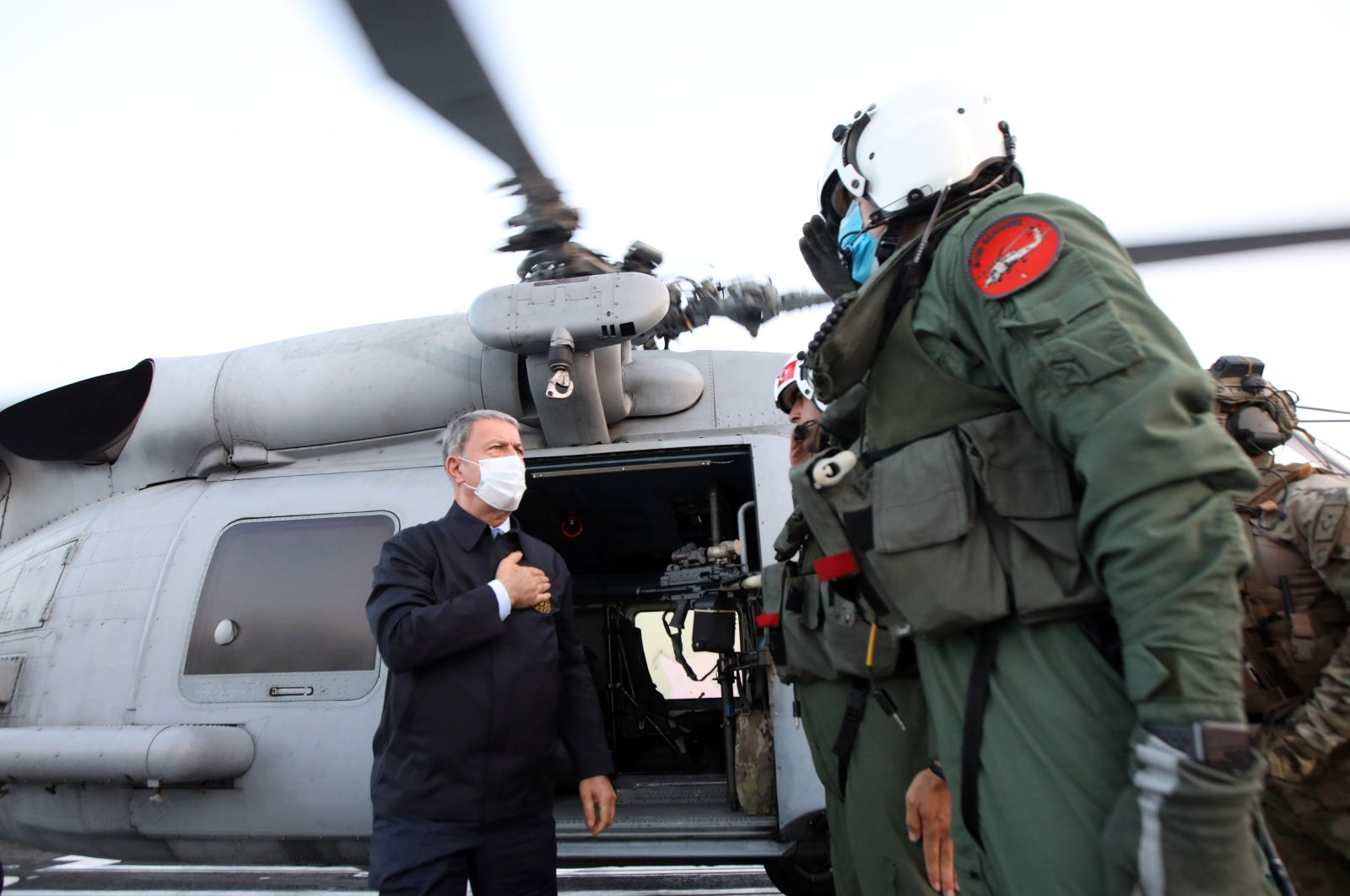 Defense Minister Hulusi Akar visits the Turkish Maritime Task Group ship on duty off the coast of Libya in the Central Mediterranean, July 4, 2020. (AA Photo)
