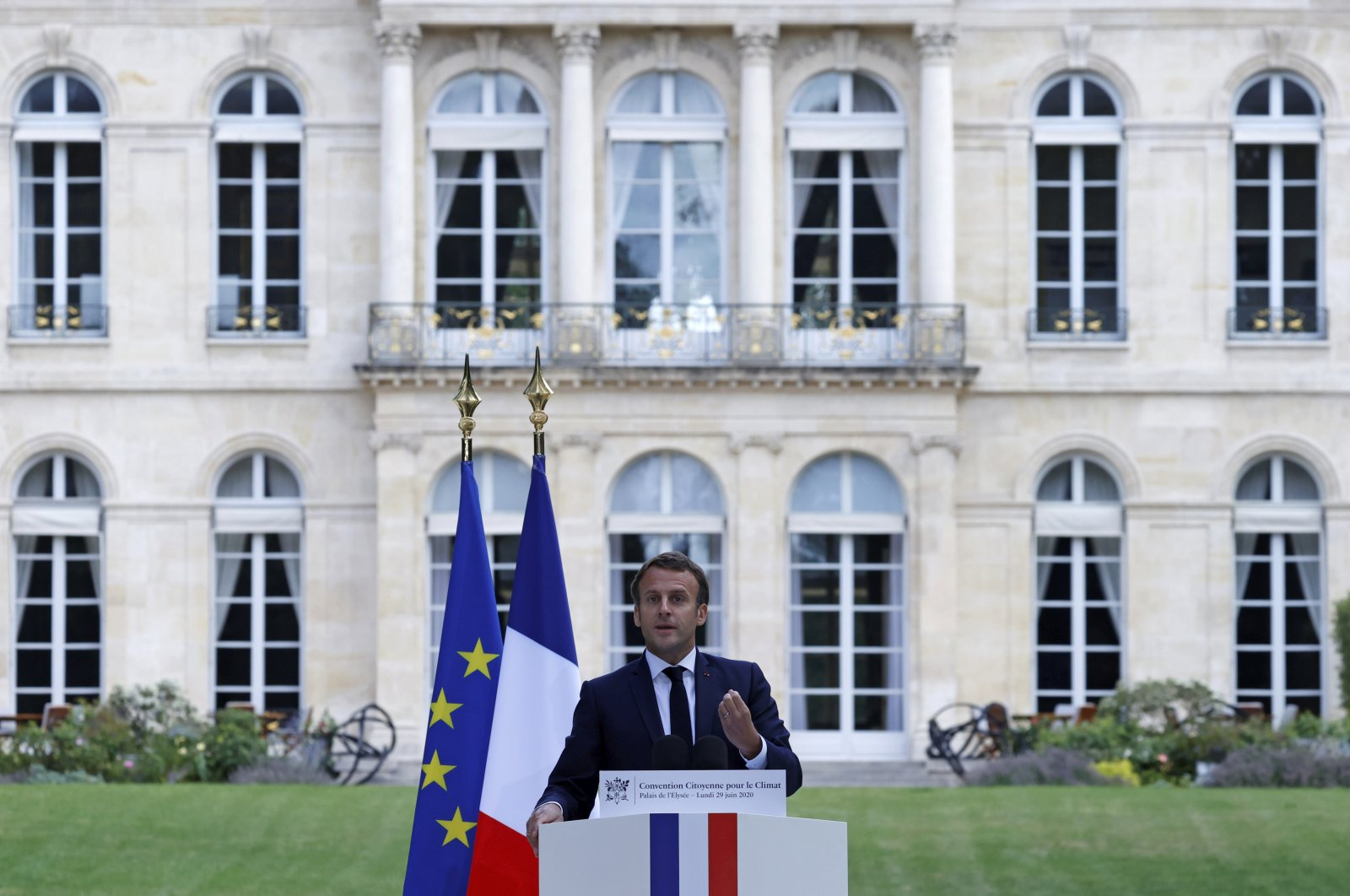 French President Emmanuel Macron delivers a speech at the Elysee Palace in Paris, June 29, 2020. (AP Photo)