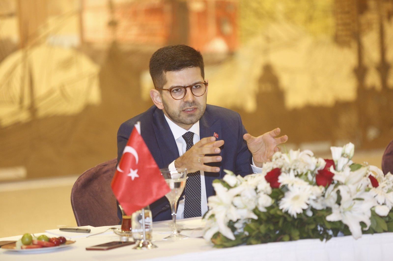 The presidency's Investment Office Chairman Ahmet Burak Dağlıoğlu speaks to press members, Istanbul, Turkey on July 3, 2020. (Photo courtesy of Investment Office)