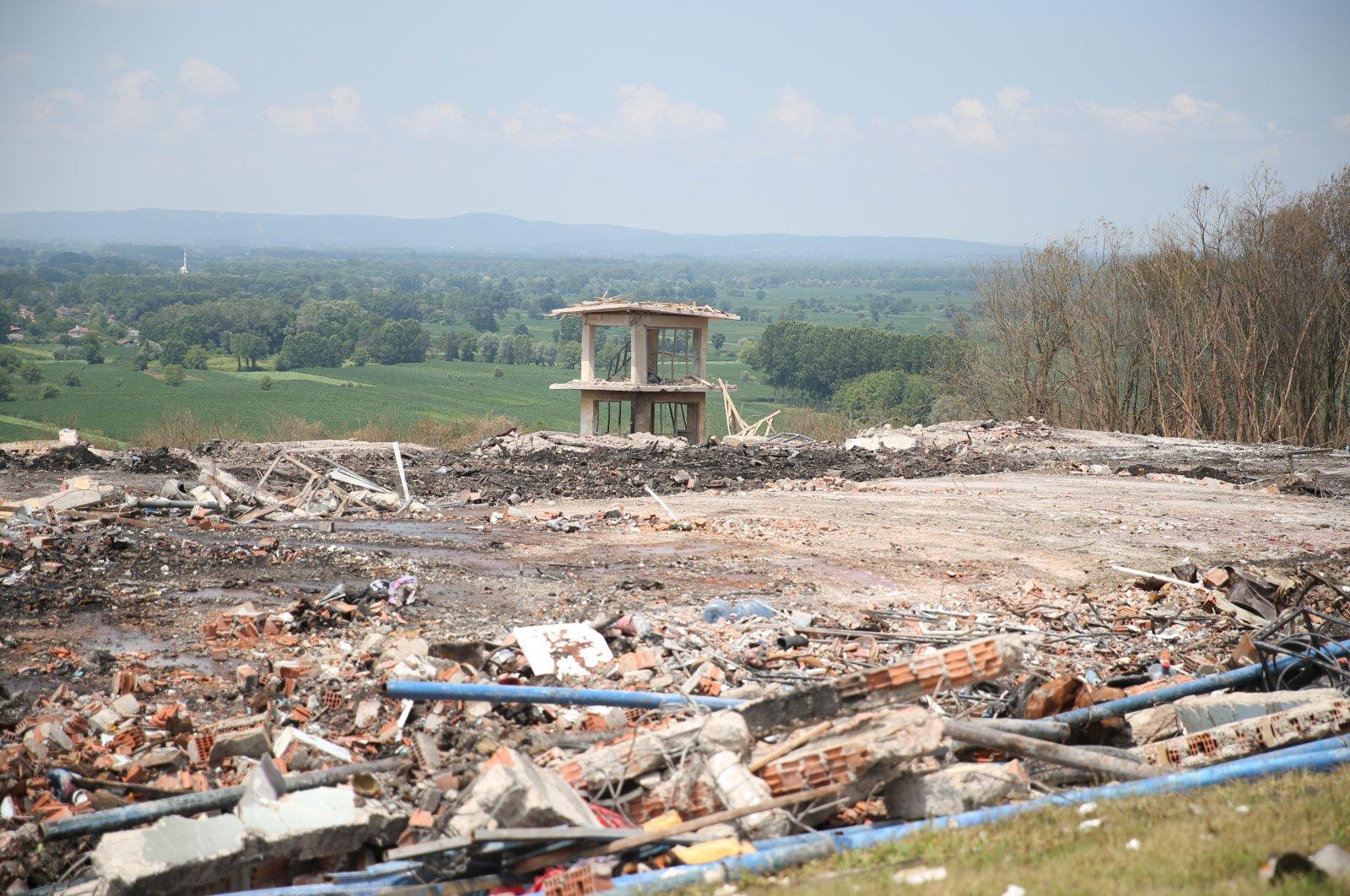 Debris from a factory explosion in Sakarya, Turkey, July 5, 2020. (AA Photo)