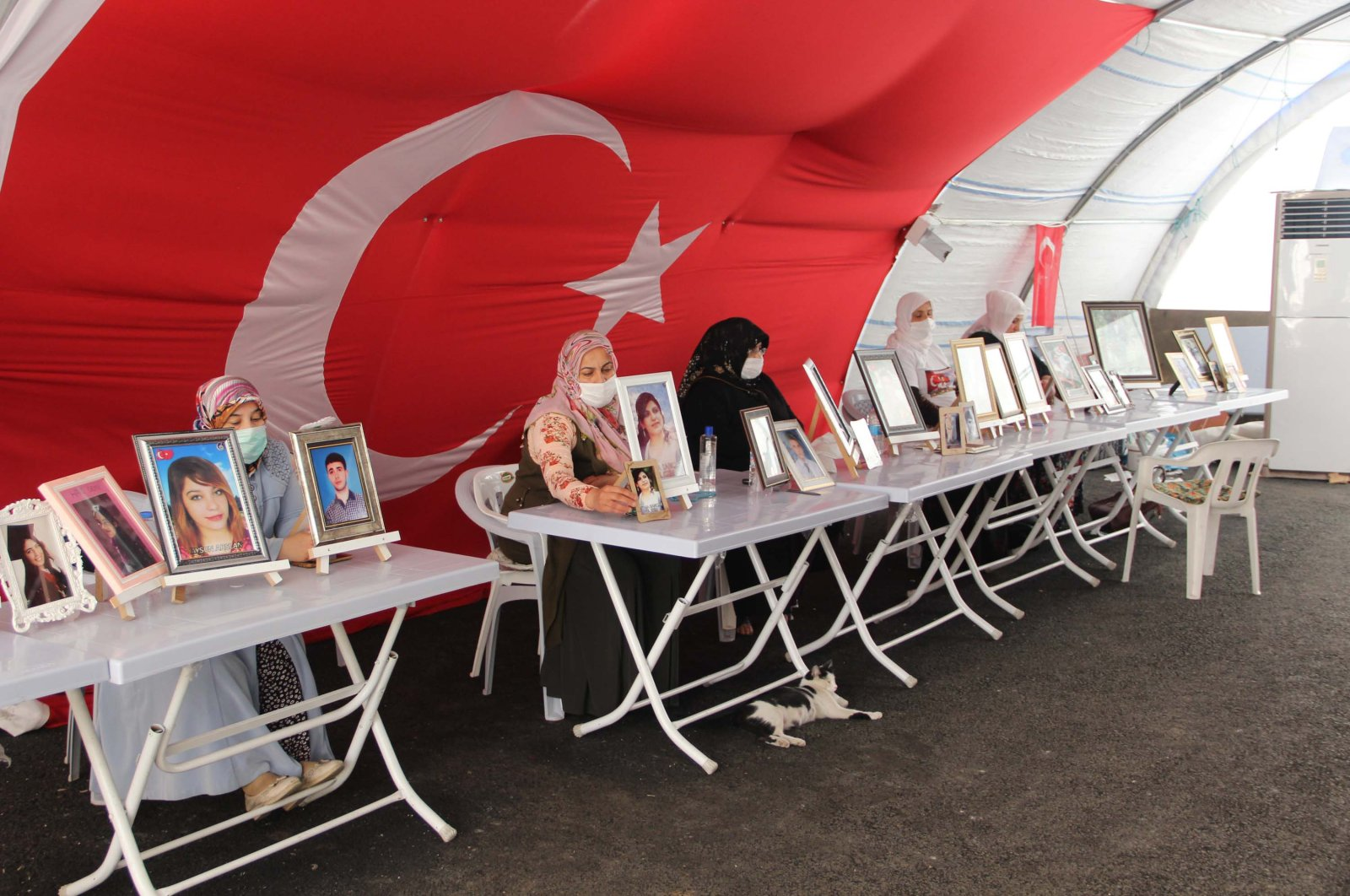 Kurdish mothers whose children were abducted by the YPG/PKK have been staging a sit-in protest in southeastern Turkey's Diyarbakır, July 5, 2020. (DHA Photo)