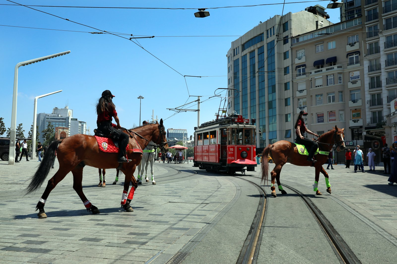Mounted police patrol Istanbul's Taksim square, Turkey, July 5, 2020. (AA Photo)