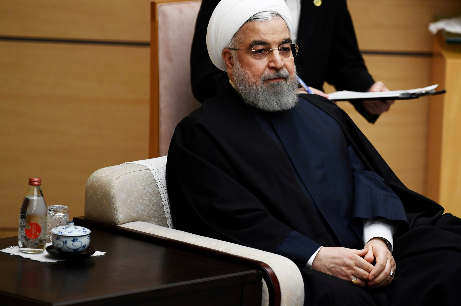 Iranian President Hassan Rouhani meets Japanese Prime Minister Shinzo Abe (not pictured) in Tokyo, Japan, Dec. 20, 2019. (Reuters Photo)