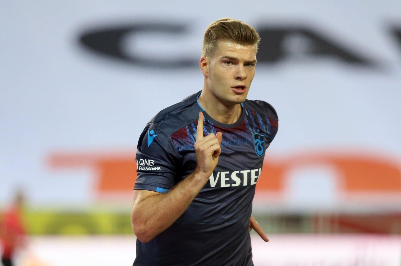 Alexander Sorloth celebrates his goal in a game against Ankaragücü, Trabzon, June 27, 2020. (AA Photo)