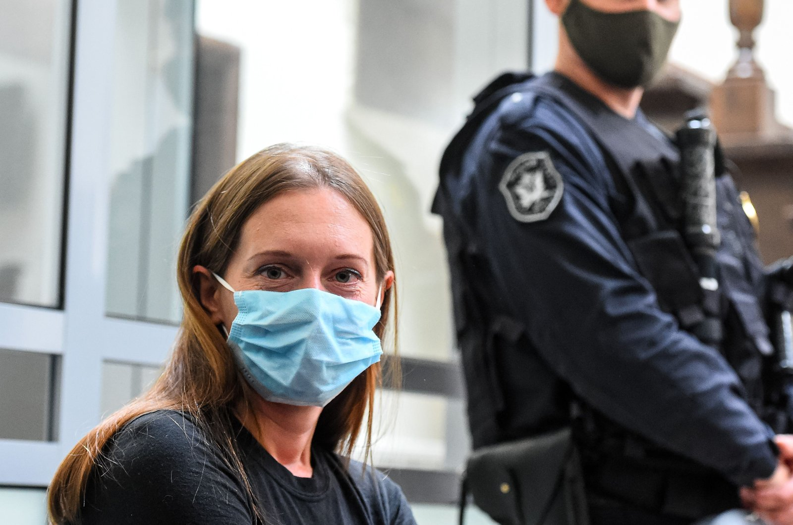 Russian journalist Svetlana Prokopyeva who was charged with publicly justifying terrorism attends a court hearing in Pskov on July 6, 2020. (AFP Photo)