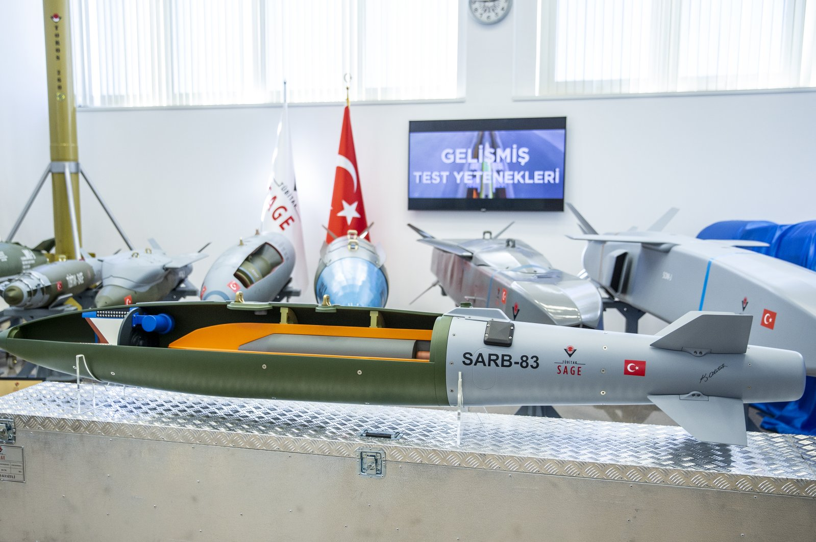 SARB-83 ammunition developed by the TÜBITAK SAGE is displayed at the SAGE headquarters in Ankara, Turkey on July 6, 2020. (AA Photo)